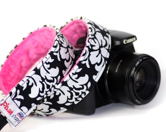 Damask Camera Strap, Dandy Damask with Hot Pink Minky