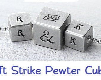 Blanks - NEW Soft-Strike Pewter - CUBE - 1/2 inch and 3/8 inch by ImpressArt - Quantity1- includes How to Stamp Metal tutorial