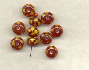 Special Close Out Sale 41 Vintage Japanese Carnelian/Amber Rondel Glass Beads