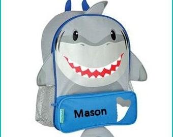 Personalized Shark Fish Sidekick, School Book bag, Toddler Backpack, Diaper Bag, Children's Monogramed Backpack, Girl Backpack,School Bag