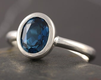 London blue topaz solitaire engagement ring in sterling silver ring