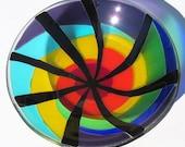 Fused Glass Rainbow Swirl Decorative Bowl