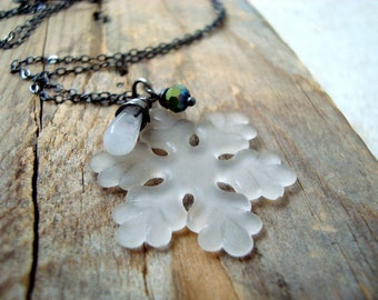 Winter Snowflake Necklace - Moonstone, Crystal. Holiday Jewelry Christmas Winter Weddings Charm Necklace Bridesmaid Necklace