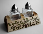 Rustic Natural Cedar Wood Salt and Pepper Shaker Holder by Tanja Sova
