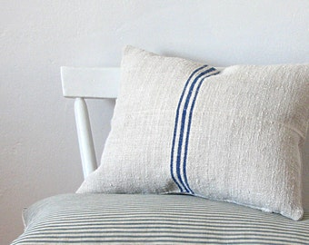 Pillow Vintage Grain Sack Fabric Pillow Triple Blue Stripe French Country Home Rustic Cottage Style
