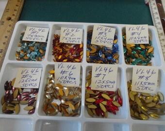 Choose your Flat Back Navette Rhinestone  Vintage Glass Stones 50 pcs. VL 46