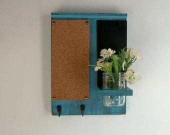Robin Egg Blue Distressed Rustic Wood Cork Board Black Board Bulletin Board Message  Center