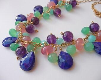Multi gemstone luxury cluster necklace, bib, Lapis Lazuli, Peruvian Opal, Amethyst, Chrysoprase, Grapefruit Chalcedony, gold