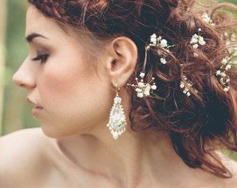 "Pearl Teardrop Wedding Earrings| Silver + White Handmade Lace Bridal Chandeliers  | Woodland Spring Wedding ""Gossamer"""