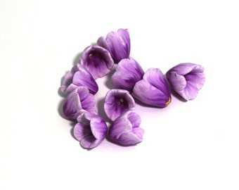 Purple Tulip Beads, Spring Flowers, Polymer Clay Beads, Purple Pink Flower Beads 10 Pieces