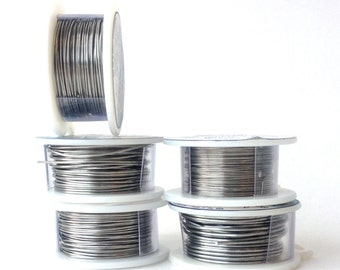 20 Gauge Colored Craft Wire - 18 Feet - Brushed Silver