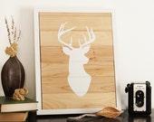 Reclaimed Wood Wall Art - Bright White Deer