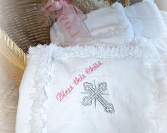 """Handmade Rag Quilt """"Blessings"""" Christening/Baptism Quilt, Pink, Baby Girl"""