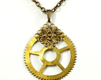Steampunk Industrial Post-Apocalyptic Antiqued Brass Necklace with Vintage Clock Gear and Filigree by Velvet Mechanism
