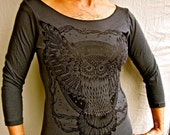 Owl Tshirt Womens Grey 3/4 Sleeve Boatneck Cotton Jersey Made In USA Sm, M, L,