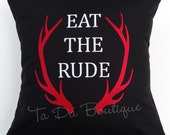 Eat the Rude Embroidered Pillow Case Cover