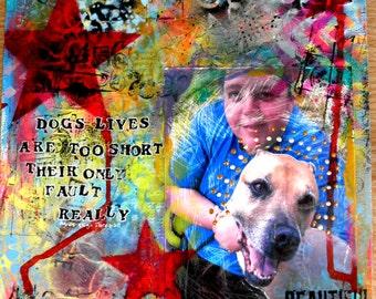 Custom Pet Portrait Mixed Media Collage Art Canvas
