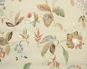 1930s Vintage Wallpaper by the Yard - Antique Floral Wallpaper with Blue Orange Green and Gold French-style Flowers and Leaves