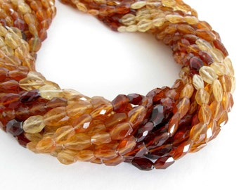 Hessonite Garnet Beads, Shaded Faceted Ovals, Full 14 Inch Strand, Orange Garnets, Faceted Shaded Ovals, Genuine Hessonite Garnets, Hess200