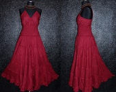 Long Maroon Red GYPSY PRINCESS Smock Maxi Dress Hippie Boho Plus Size 26 28 30 4x 5x