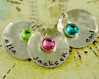 Mommy Grandma Necklace - Birthstone Discs - Personalized Sterling Silver Birthstones - Mom, Grandma, Mother's Day