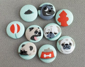 fabric covered buttons with dog inspired pug print cotton fabric - MEDIUM- made in the USA -
