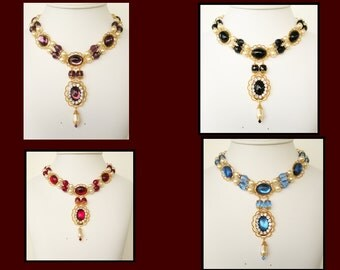 Medieval Necklace, Renaissance Necklace, Tudor Necklace, Medieval Jewelry, Renaissance Jewelry, Elizabethan Necklace, U PICK COLOR