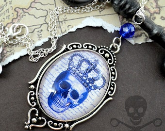 ROYAL BLUE- SKULL Cameo Glass Cabochon Necklace