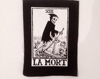 Small La Mort Tarot card sew on punk patch, La Mort Tarot Patch, Sew On Punk Patch, Tarot Card Patch