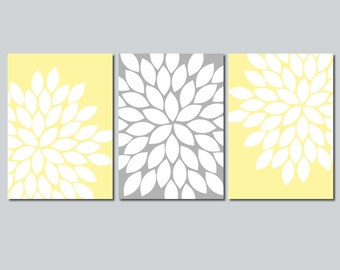 yellow gray wall art bedroom flower pictures canvas or prints floral bathroom artwork