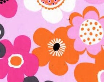 Woodland Delight Modern Flora Pink and Orange Daisy Flowers Paula Prass Fabric 1 Full Yard