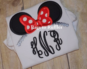Minnie Mouse Inspired Monogrammed Applique Tshirt