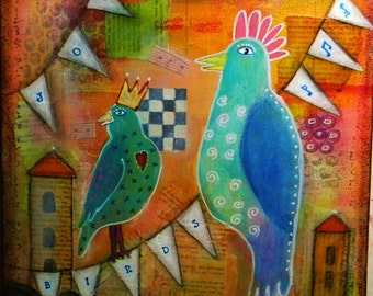 Joy Birds, mixed media original whimsical art 12x12""