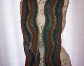 Wavy earthtones handknit scarf