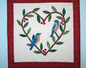 Quilted wall hanging Bluebird Love
