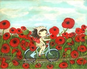Poppy Print Girl Bicycle Red Flower Wall Art---Peddling through the Poppies LARGE PRINT 11 x 14