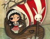 Pirate Print Girl Animal Boat Children's Nursery Wall Art ---Pirate Ship