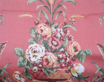 Jaima Brown Empire Rose Fabric Upholstery Drapery Decorator Coral Colorway Birds 2 1/4 Yrds RARE
