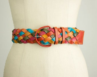 80s Vintage Leather Earth Tone Multi Color Woven Belt / Size Medium