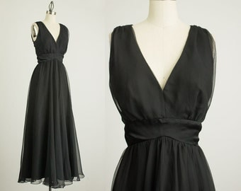 70s Vintage Black Chiffon Floor Length Dress / Size Small