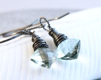 Green Amethyst Earrings Oxidized Silver Prasiolite Jewelry February Birthstone Gem Stone Gemstone Jewelry Spring Green Drop Earrings