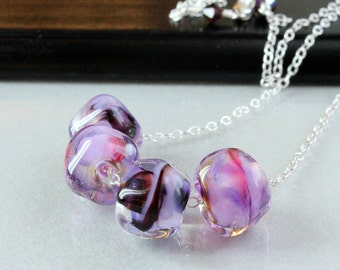 Lampwork Necklace  Glass Jewelry  Pink  Lampwork Jewelry Purple Necklace  Fuchsia Row  Necklace  Lilac Glass Jewellery Casual Woman