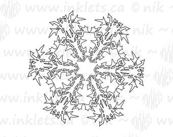 Snowflakes Printable Coloring Book Pack, All Ages, Teacher Resource, Line Art, Instant Download PDF, Inklets