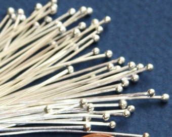 24 gauge Silver plated Ball end head pin with 2mm ball  - 2 inch long  50pcs