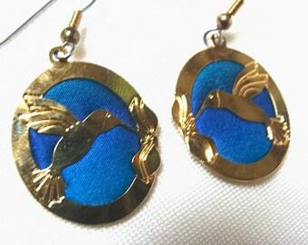 Vintage Hummingbird Earrings Signed Kyle