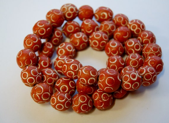African Ceramic And Stone : Handmade african ceramic beads orange red and white