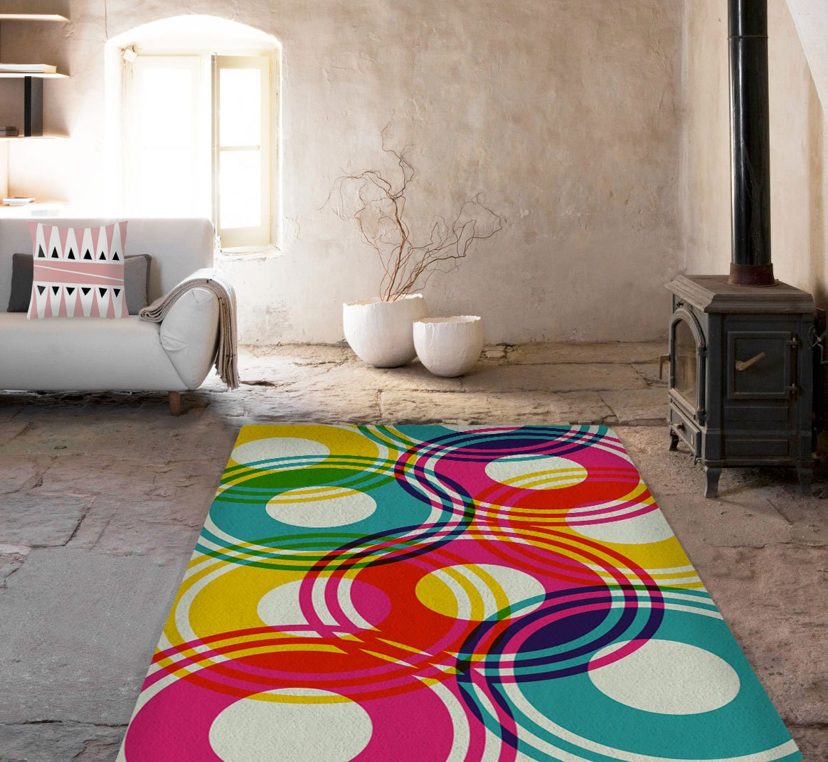 Minimalist Colorful Rug Designs: Rugs Colorful Rug Geometric Carpet Decorative Rug Circles