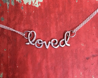 Sterling Silver LOVED Necklace