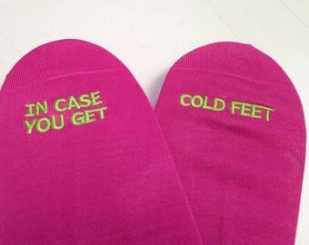 Grooms Socks 'In Case You Get Cold Feet' Funny Wedding Gift Idea, Mens Wedding Socks Gift from Bride, Groom Wedding Attire Accessory