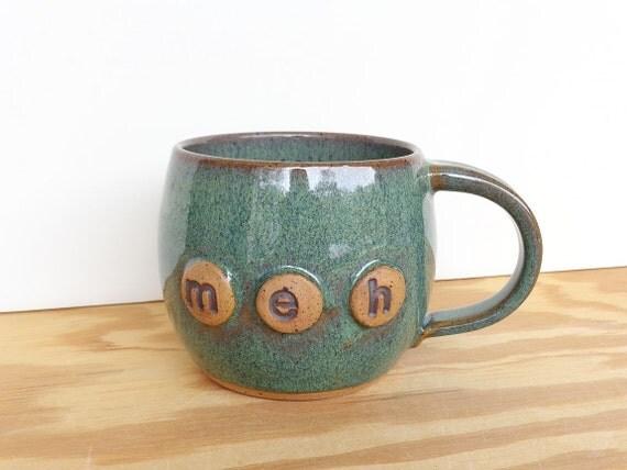 Sea Mist Pottery Coffee Cup - Stoneware Ceramic Mug - meh